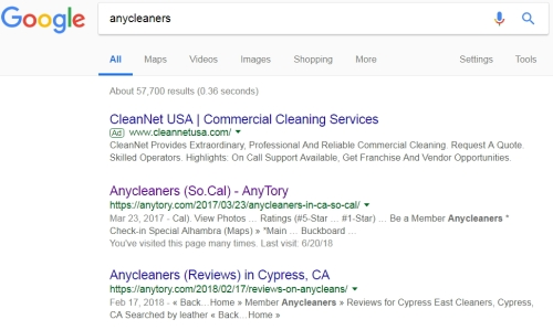 anycleaners on google